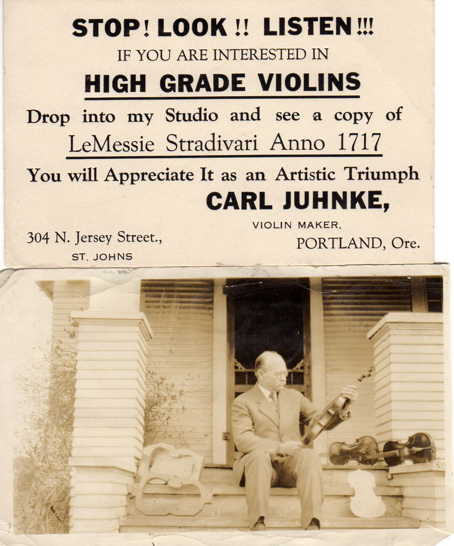 1922 304 N Jersey (McChesney building) Carl Juhnke Philadelphia Shoe Shop-Musical instruments violins a specilty