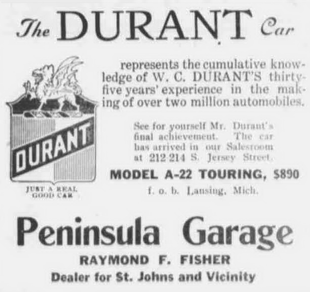 August 25, 1922 Durant Ad Peninsula Motor Sales