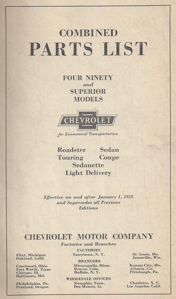 Chevrolet Parts List