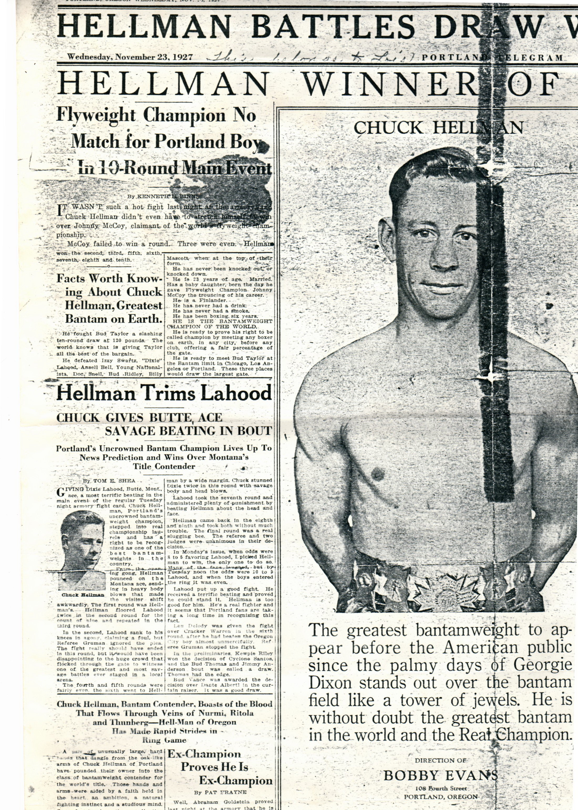 Chuck Hellman boxer Nov 1927 The Portland News He had a service station where the Signal Pizza is now.