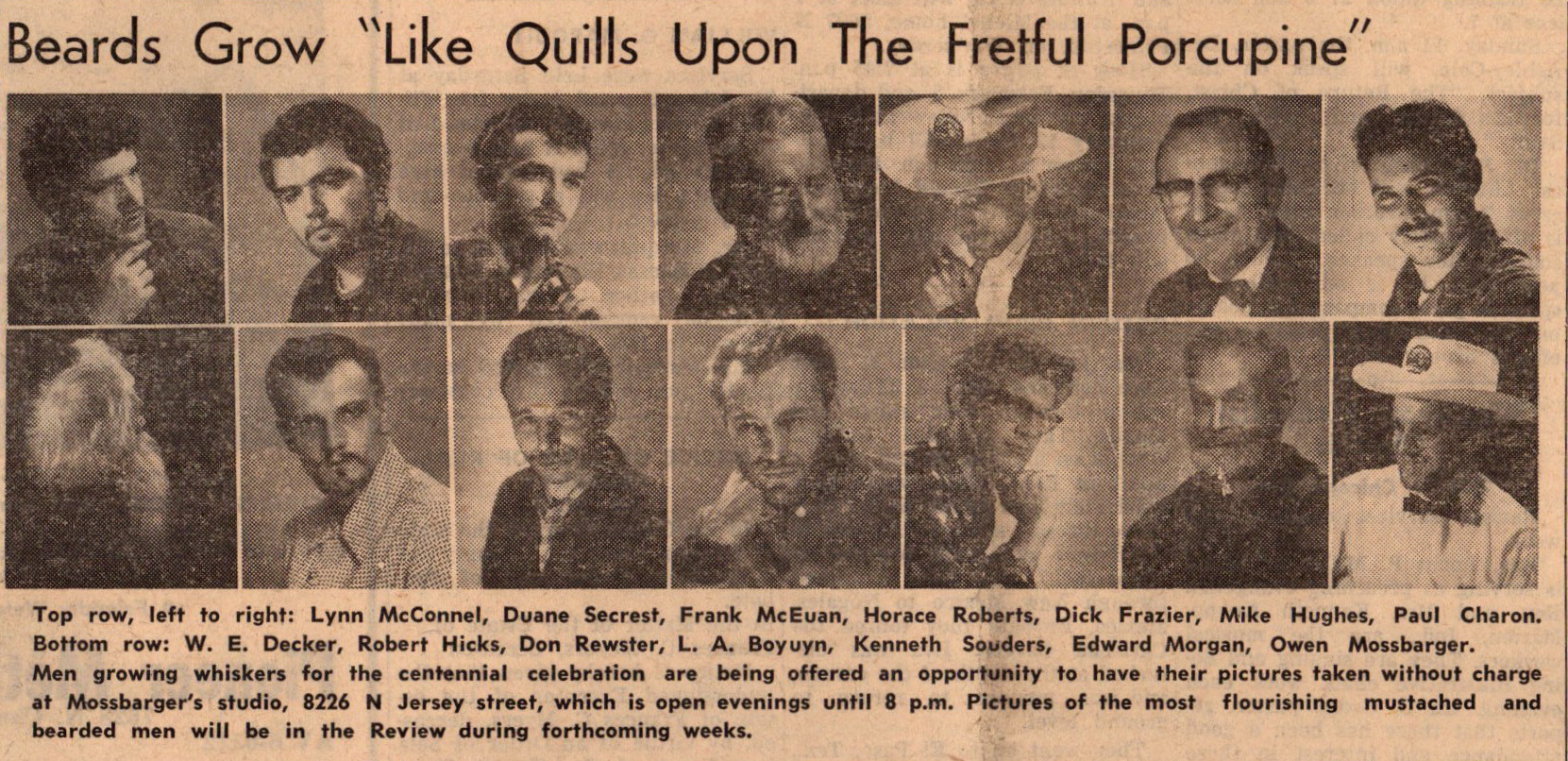 Feb 1959 Centennnial Beard Contest