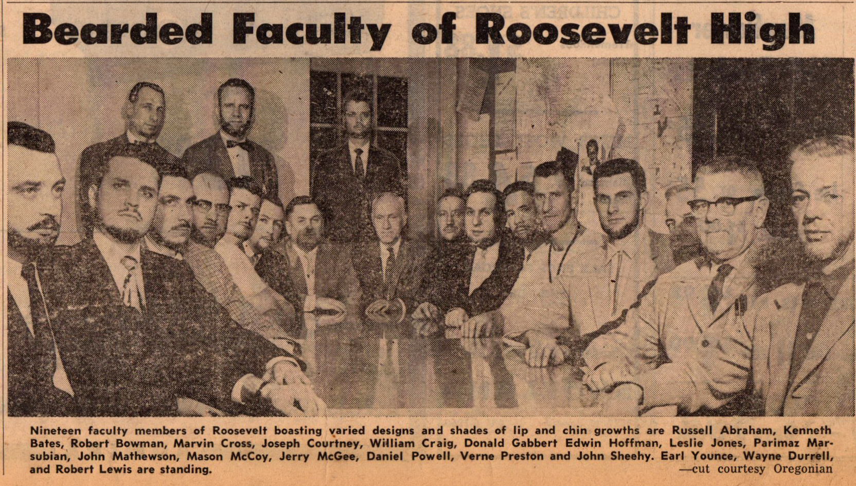 Feb 1959 Faculty of Roosevelt Centinnial Beards