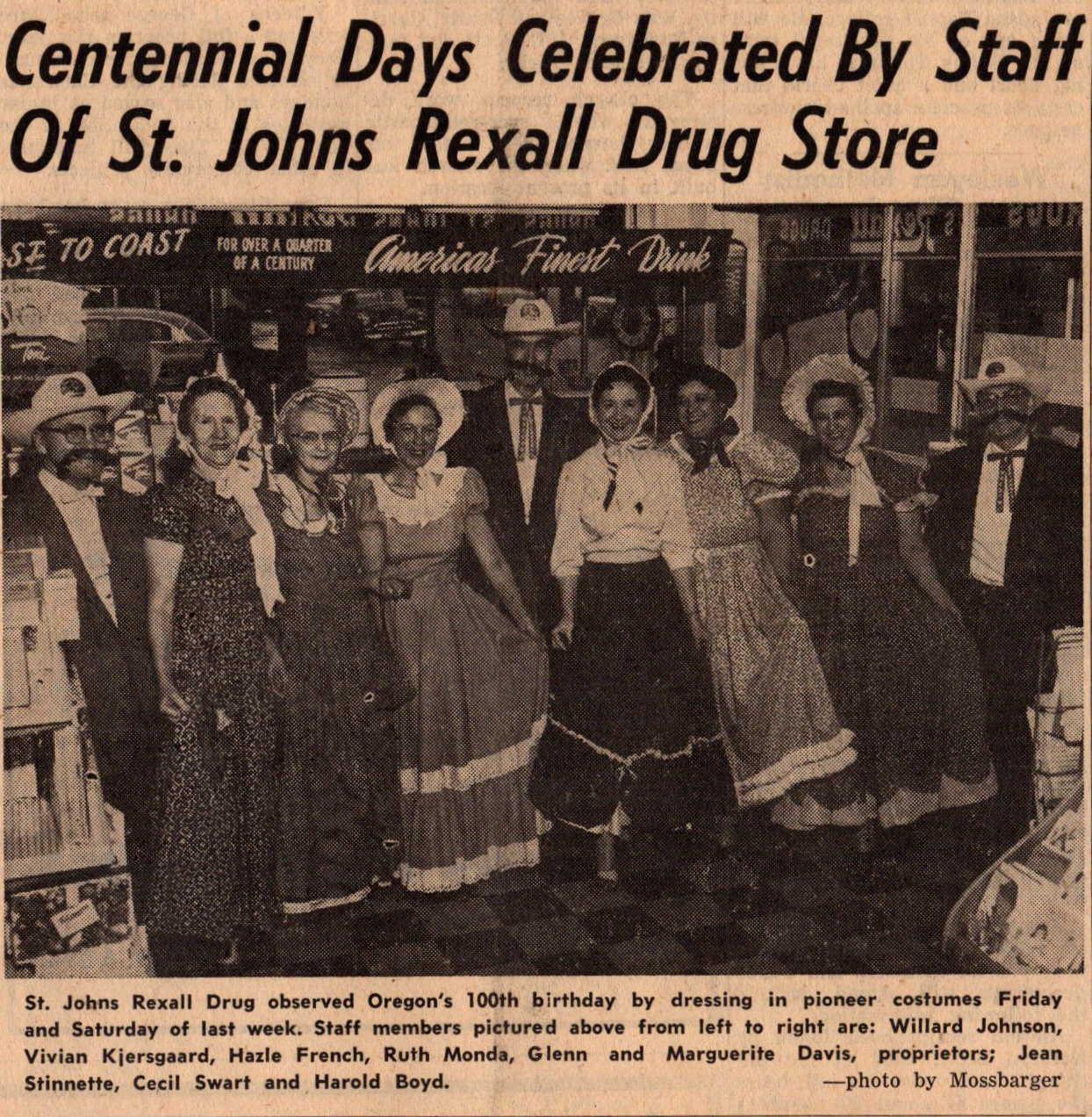 Feb 1959 St Johns Rexall 8501 N Jersey staff Centinnial Days
