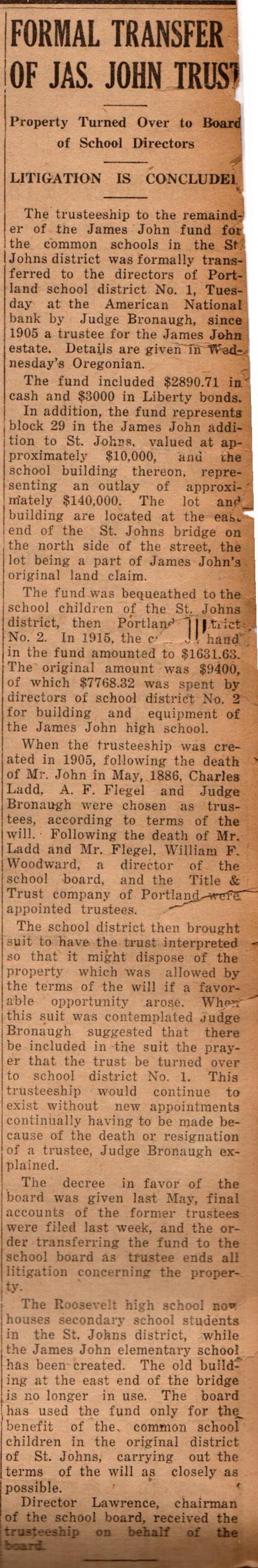 James John School Funds