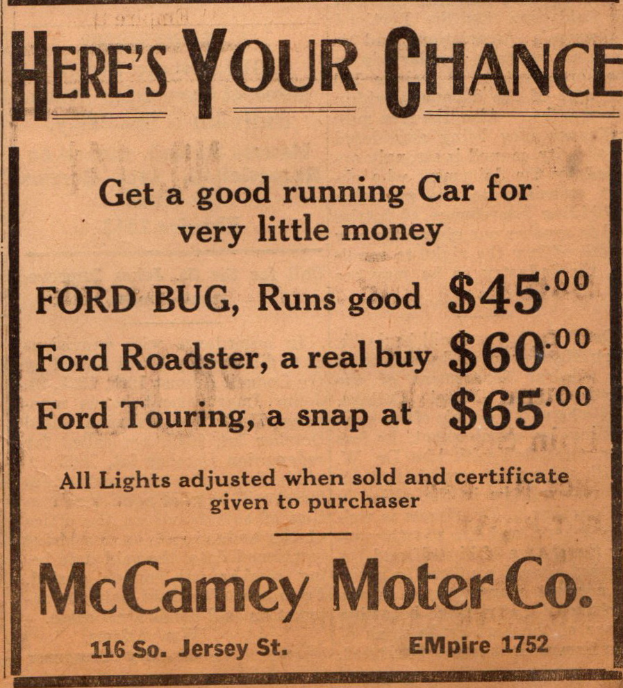 McCamey Motor Co 116 S Jersey Sep 1925