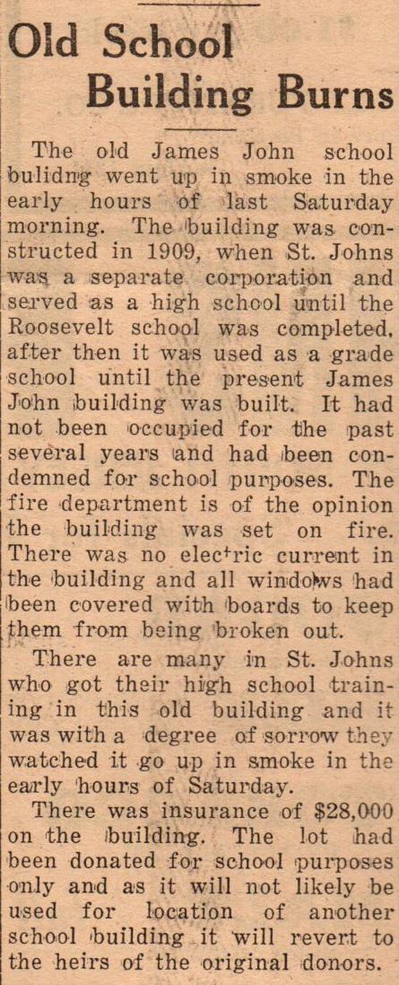 Old James John High Scool Burns down Sep 22 1934