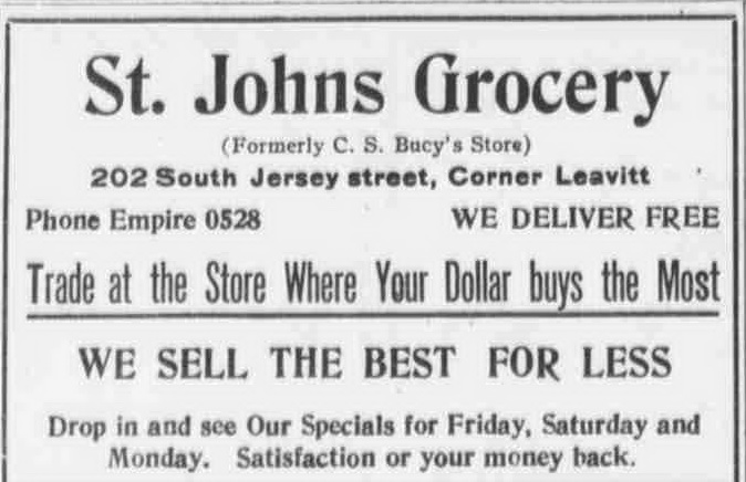 September 29, 1922 St Johns Grocery 202 S Jersey-Cornet