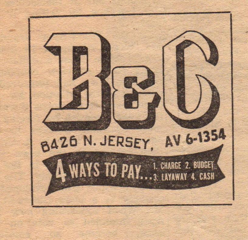 B & C Deparment store ad 1957