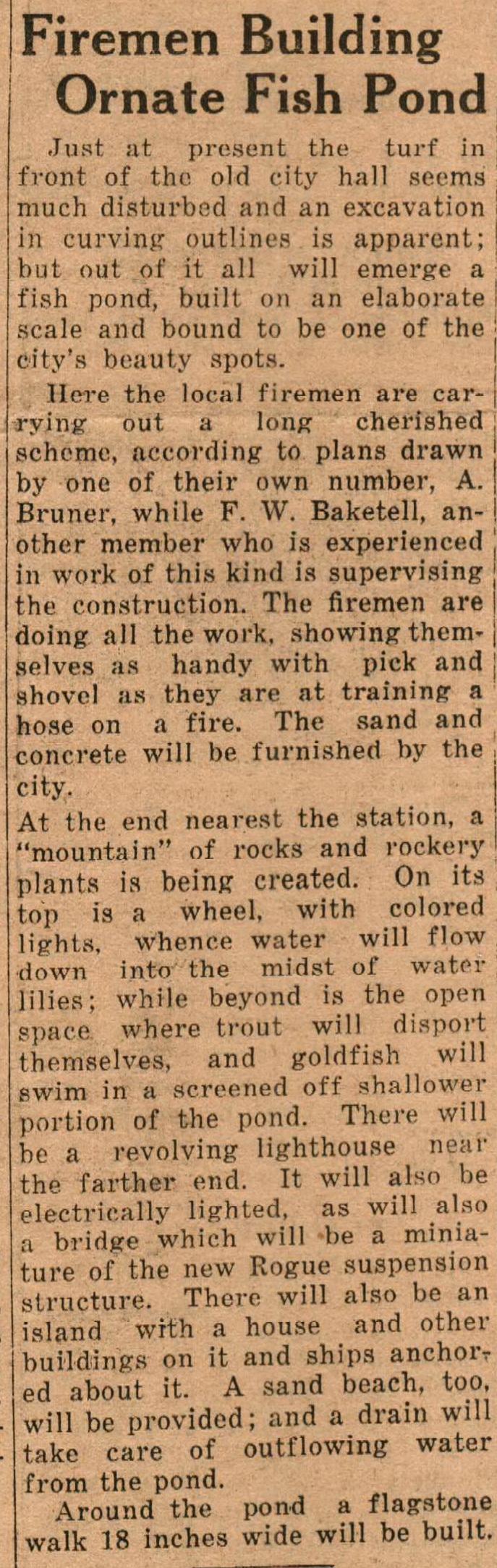 City Hall Fireman Pond plans May 1932