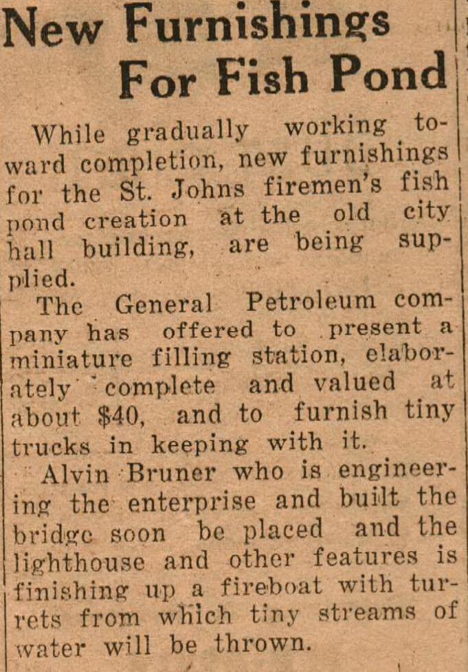 City Hall Fish Pond furnishings Aug 1932