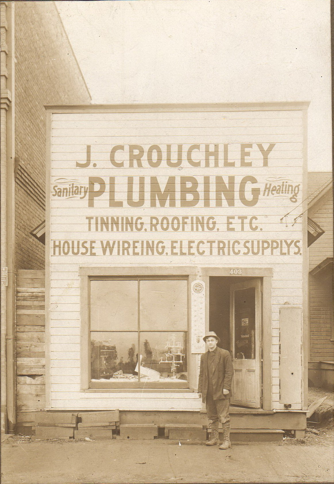 Crouchley Plumbing Earnest Crouchley  before 1910  next to 8928 North Lombard
