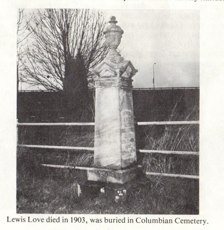 Lewis Love Grave Marker 1903