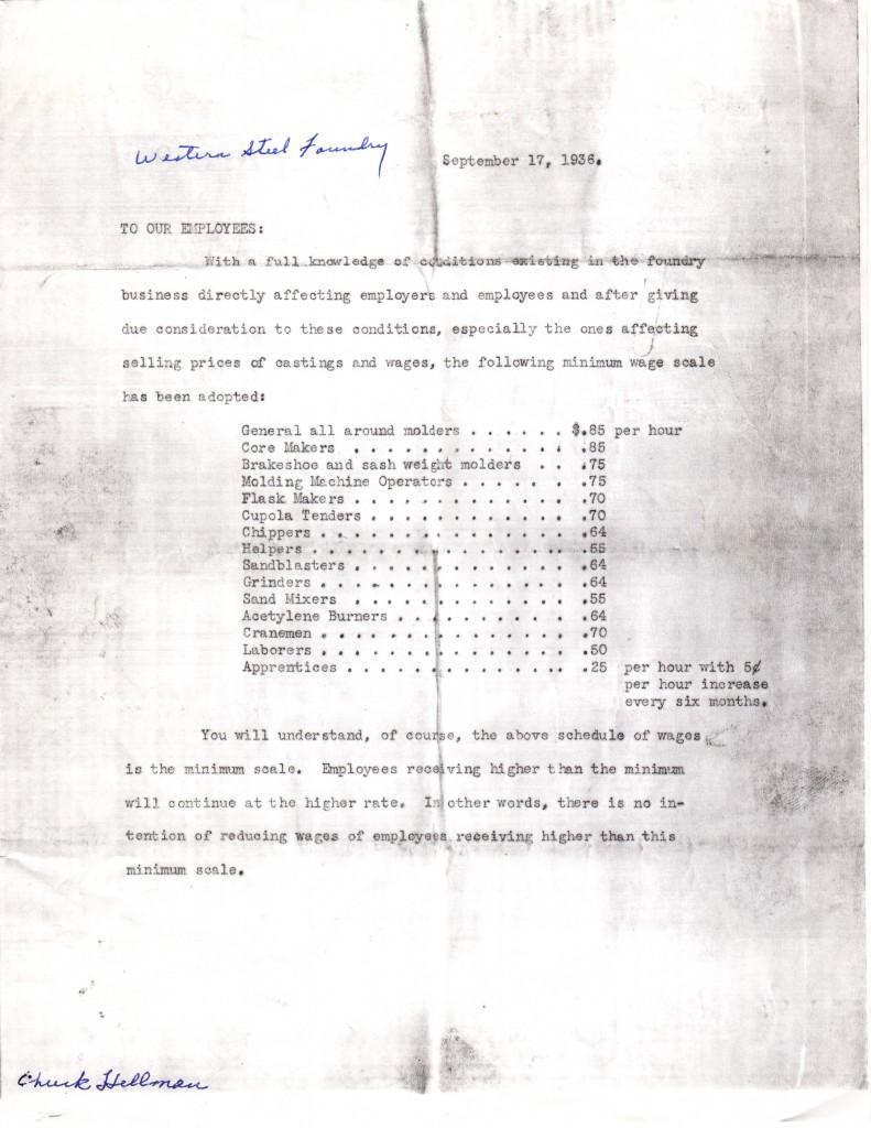 Western Steel Foundry Sept 1936 Wage List
