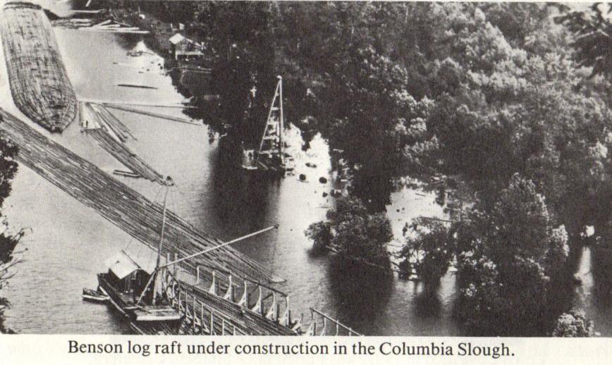 building a Benson log raft Columbia Slough