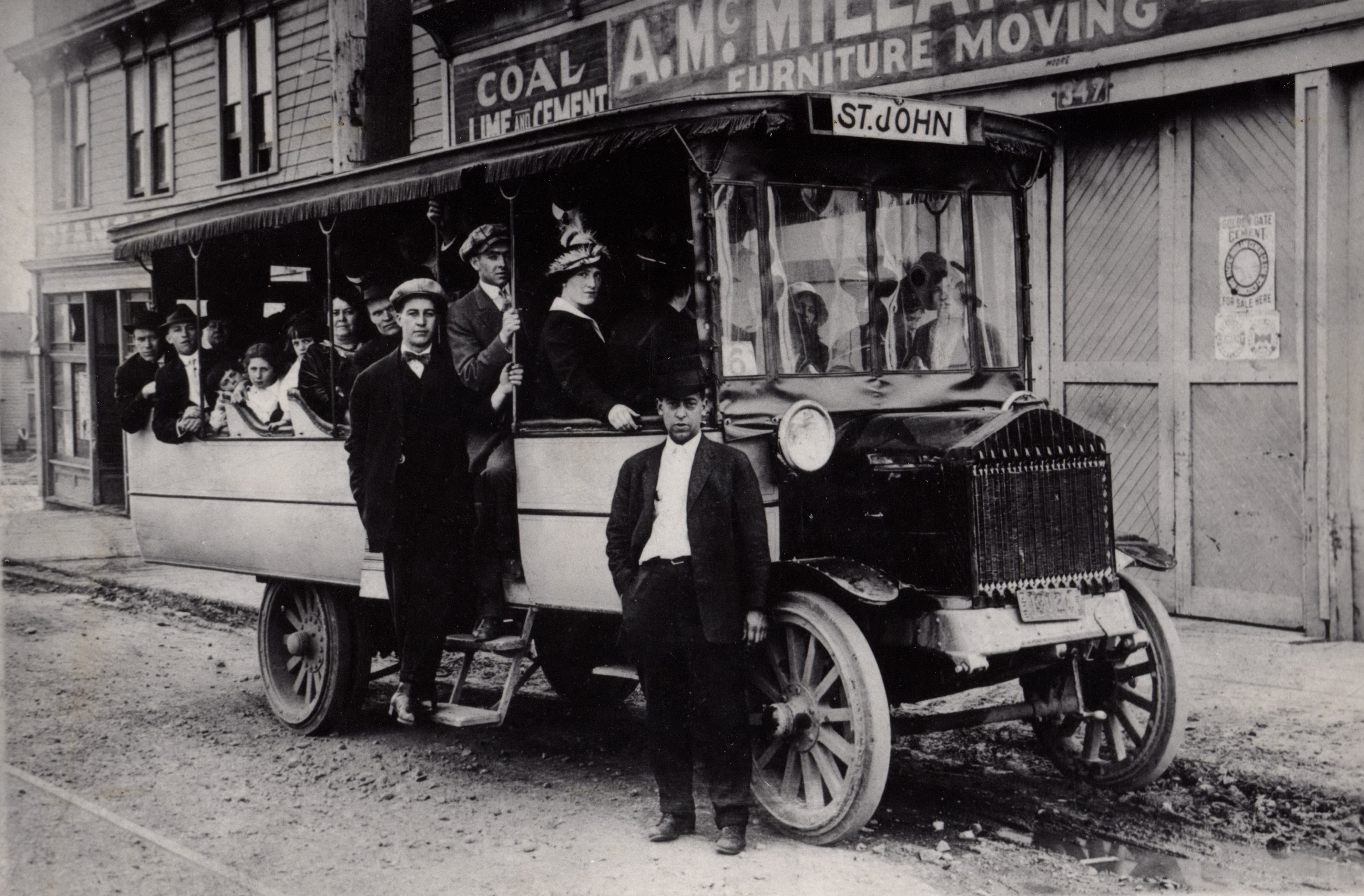 Original High Res 1915 St Johns bus in front of A. McMillan Co.