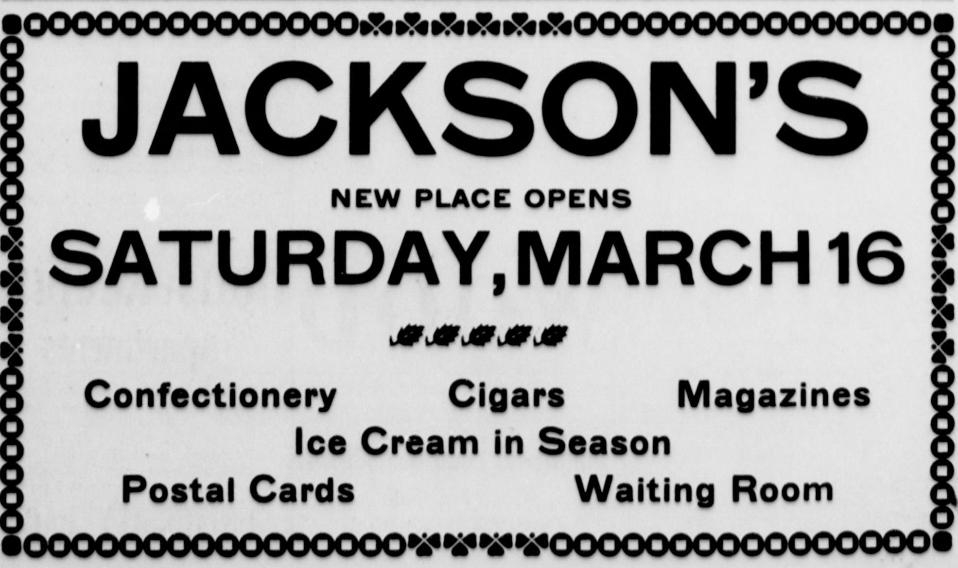 Mar 15 1907 (3) Jackson's Ad