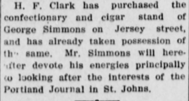 Aug 06 1909 (3) H F Clark buys confectionary store from George Simmons