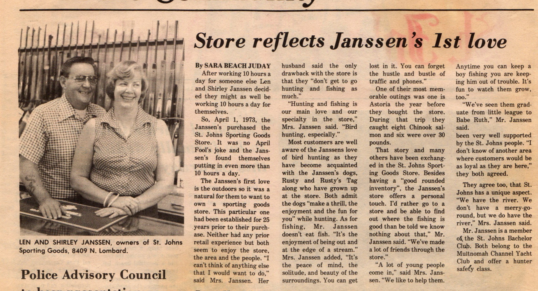 Aug 17 1978 St Johns Sporting Goods New owners Plews building