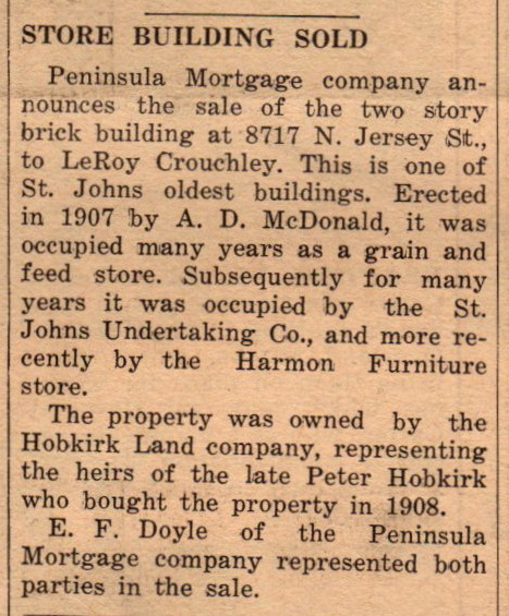 leroy crouchley buys building jul 9 1943