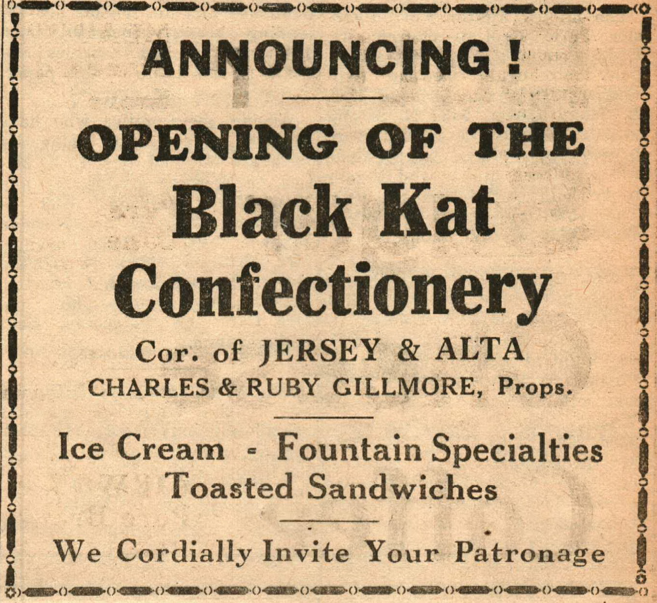 Black Kat Confectionary 8638 N Jersey Opened Sep 1933