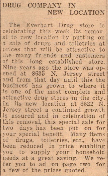 Everhart Drug Store moving from 8635 N Jersey to 8622 N Jersey Jun 1934
