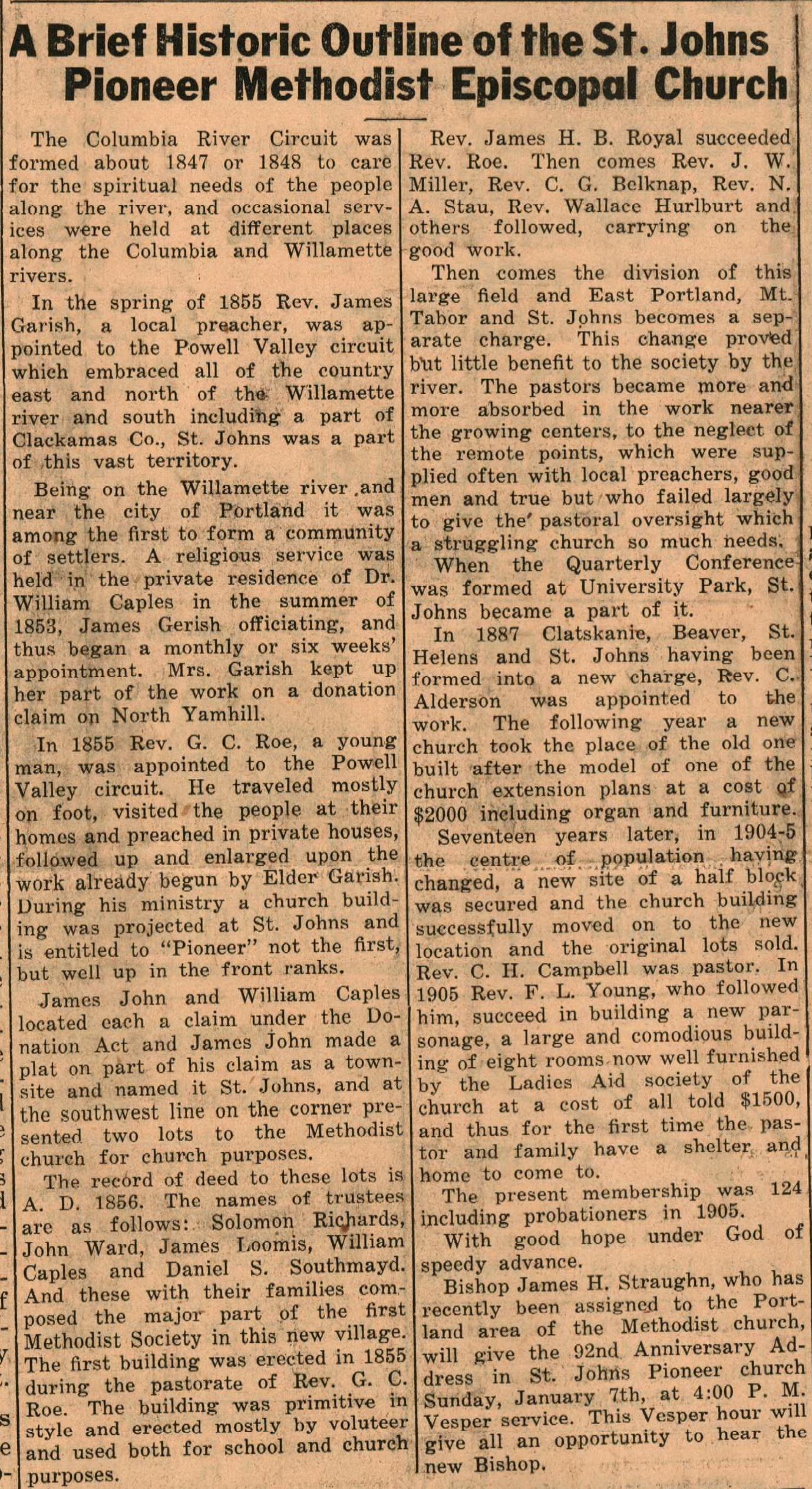 History of the Pioneer Methodist Church Dec 1939 (1)