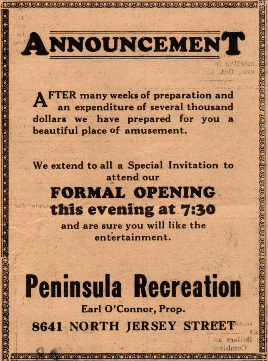 Peninsula Recreation 8641 N Jersey Bowling beer and light lunch Oct 1935 (1)