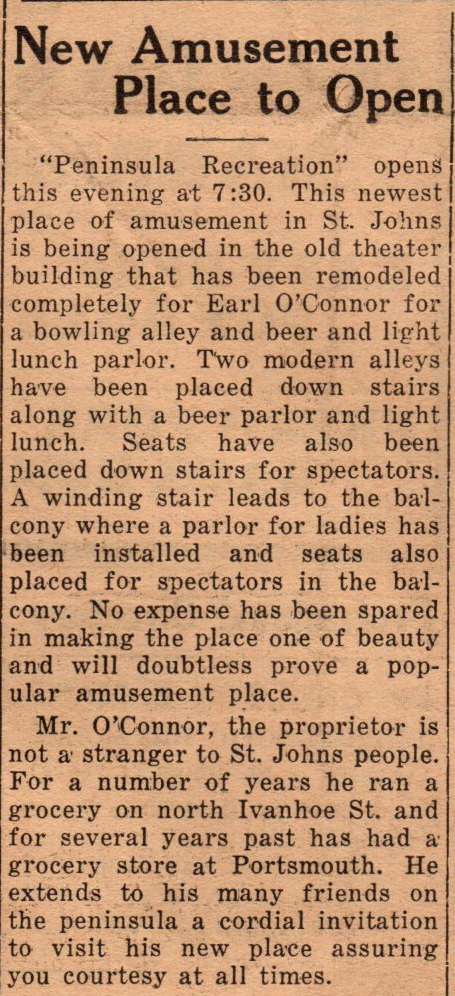 Peninsula Recreation 8641 N Jersey Bowling beer and light lunch Oct 1935 (2)