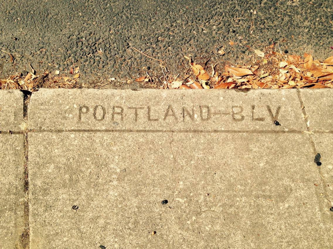 Portland Blvd sidewalk marker at StJohns and Smith 1911