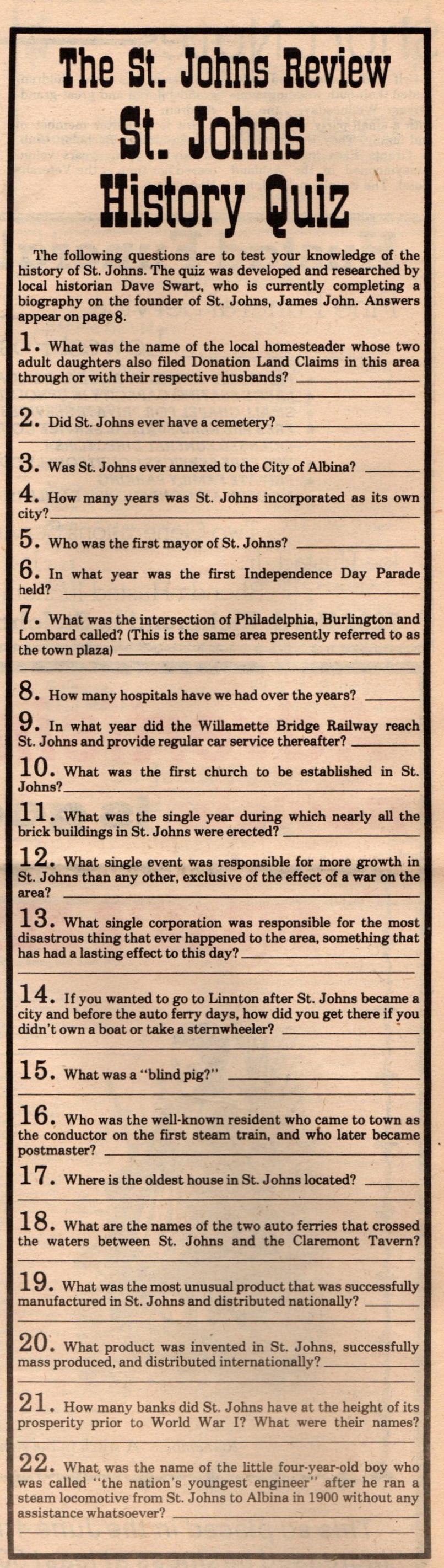 St Johns History Quiz (1)