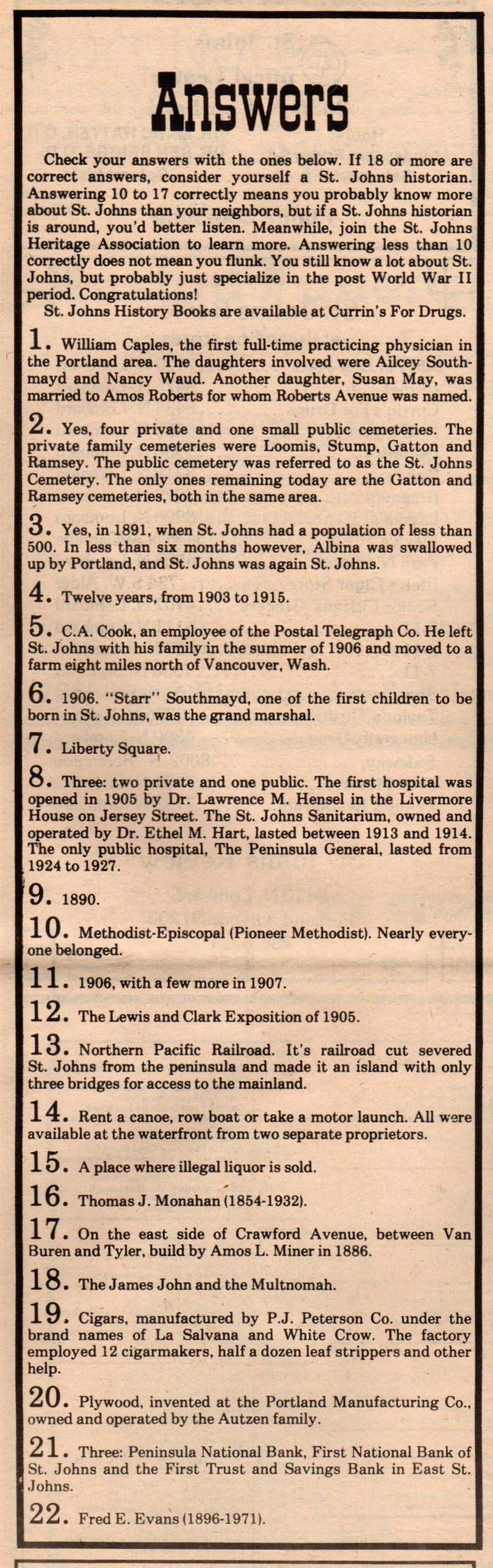St Johns History Quiz (2)