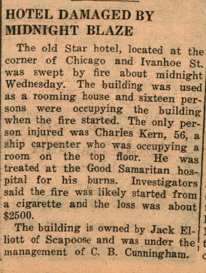 Star Hotel Chicago and Ivanhoe burns downs May 10 1940
