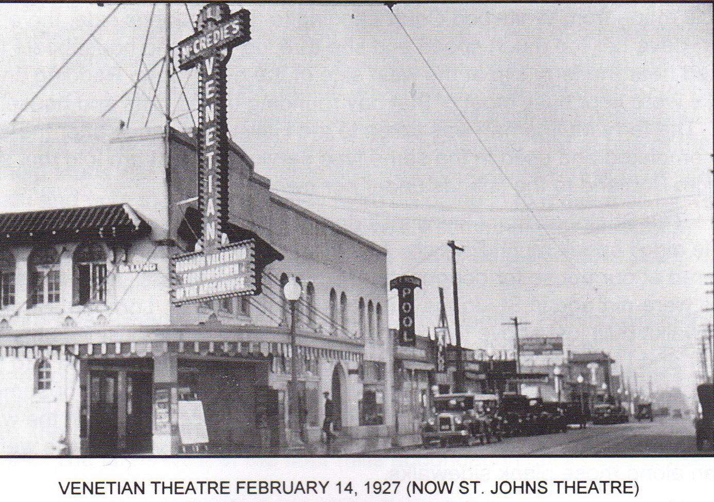 Venetian Theater Feb 14 1927 Idle Hour pool and tavern next door